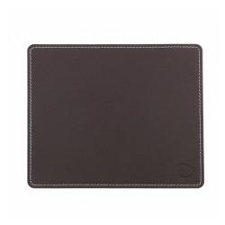 Musemåtte firkantet - mørk brun læder