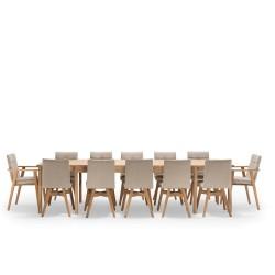 NocNoi spisebordssæt i eg m. 6 stole m/u armlæn, 6-18 pers. (200x100) - Med udtræk til 5 m. Stole med armlæn