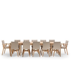 NocNoi spisebordssæt i eg m. 6 stole m/u armlæn, 6-18 pers. (200x100) - Med udtræk til 5 m. Stole uden armlæn