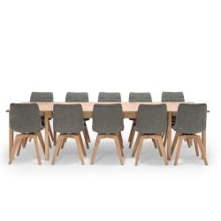 NocNoi spisebordssæt i egetræ m. 6 drejestole, 6-18 pers. (200x100) - Med udtræk til 5 meter