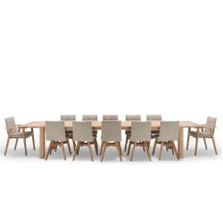 NocNoi Spisebordssæt i egetræ m. 6 stole, 6 til 10 pers. (200x95) - Tillægsplader muligt