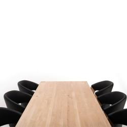 NocNoi spisebordssæt i egetræ m. 6 stole, afrundede bordben (200x95) - Tillægsplader muligt