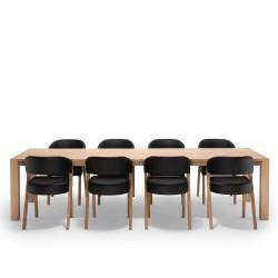 NocNoi Spisebordssæt i egetræ m. 8 stole, firkantede bordben (260x95) - Tillægsplader muligt