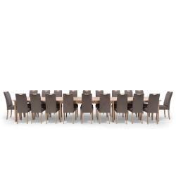 NocNoi spisebordssæt til 20 personer, massivt egetræ (500x100) - inkl. 6 tillægsplader