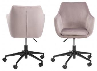 Nora skrivebordsstol - rosa stof og sort, m. armlæn og hjul