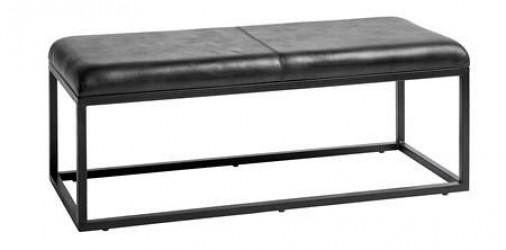 Nordal Bænk i læder 123 cm - Sort
