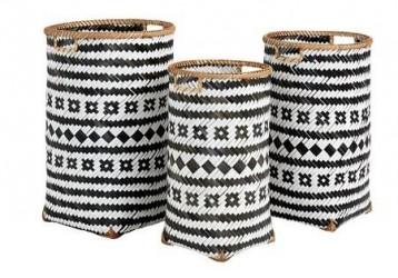 Nordal Baomboo kurve large sort/hvid - sæt med 3
