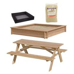 Nordic Play sandkasse og bord- og bænkesæt - Lærketræ