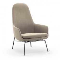 Normann Copenhagen Era Lounge stol - høj/krom, City Velvet 096