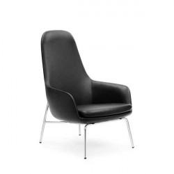 Normann Copenhagen Era Lounge stol - høj/krom, Ultra Leather 41599