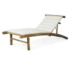 NORTHBYNORTH Deck liggestol - hvid/natur stof/bambustræ, inkl. hynde