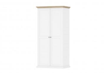 Paris garderobeskab 2 låger + bøjlestang - hvid/eg