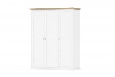 Paris garderobeskab 3 låger + bøjlestang - hvid/eg