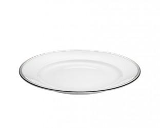 Pillivuyt Bistro tallerken hvid/sølv, Ø 18 cm