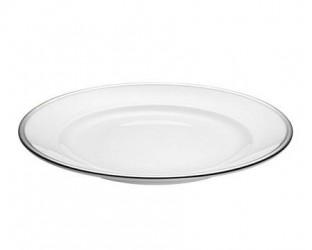 Pillivuyt Bistro tallerken hvid/sølv, Ø 24 cm