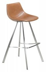 Pitch barstol lysebrun kunstlæder børstet ben