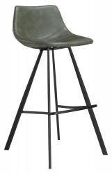 Pitch barstol vintage grøn kunstlæder sorte ben