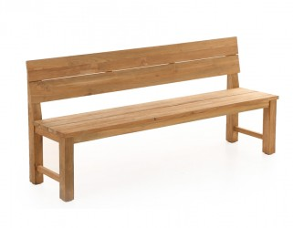 Plankebænk m/ryglæn - 200 cm