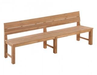 Plankebænk m/ryglæn - 290 cm