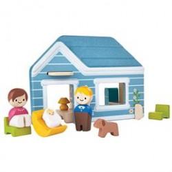 Plantoys hjem med figurer - Inkl. hus, mor, far, baby og hund