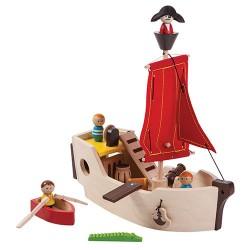 Plantoys sørøverskib - Inkl. besætning, robåd og krokodille