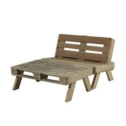 PLUS loungesæt sofa + stort bord - drivtømmerfarvet
