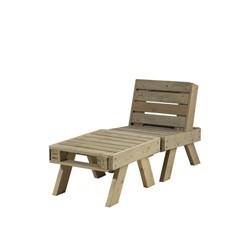 PLUS loungesæt stol + lille bord - drivtømmerfarvet