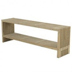 Plus trallebord med hylde - Drivtømmerfarvet
