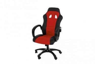 Race kontorstol - Rødt/sort læder PU og stof