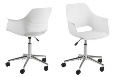 Ramona skrivebordsstol - hvid plast m. læderhynde.