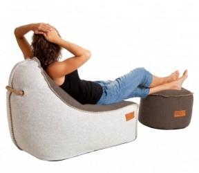 Retro sÆkkestol udendØrs (brun/hvid)