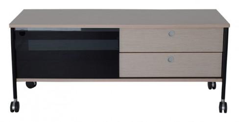 RGE Alessi TV-bord - sort/naturfarvet MDF træ, m. hjul