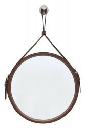 RGE Elvis vægspejl - glas/brun spejlglas/kunstlæder, rund (60x60)