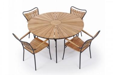 Rørvig 130 cm. Sæt med 4 stole - Grå