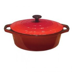 Ronneby Bruk Emaljeret støbejernsgryde 4,3 liter Oval 29 cm Rød