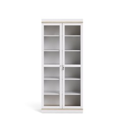 Roomers vitrineskab - Hvid m. Eg, 5 hylder og 2 låger