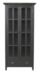 ROWICO Nottingham vitrineskab - grå m. 2 glasdøre og 1 skuffe