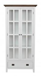 ROWICO Nottingham vitrineskab - hvid m. 2 glaslåger og 1 skuffe