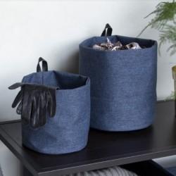 Rund opbevarings pose blå stof - large