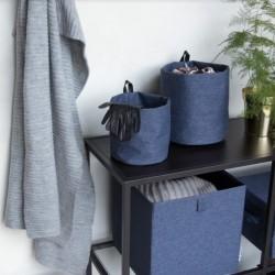 Rund opbevarings pose blå stof - small