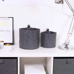 Rund opbevarings pose grå stof - large