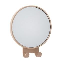 Rund spejl med knager - brun