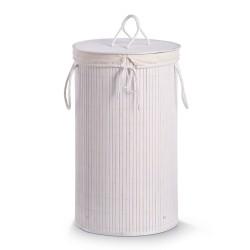 Rund vasketøjskurv i bambus - hvid