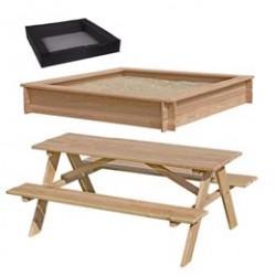 Sandkasse og bord- og bænkesæt i lærketræ