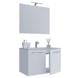Sentas bedeværelsesmøbelsæt - spejlglas, keramik og hvid melamin
