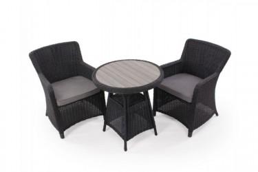 Siesta Sort Cafesæt m/2 spisestole - Ø 70 cm