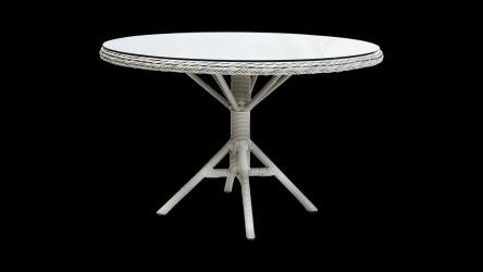 SIKA DESIGN Grace havebord - flettet hvide artfibre m. glasplade, rundt (Ø:120)
