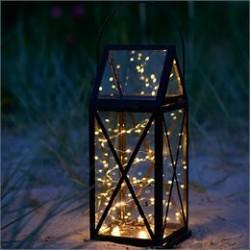 Sirius lanterne med batteridrevet lyskæde - Aske Magnum - Sort