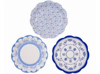 Små paptallerkener, Blue Porcelain, 12 stk