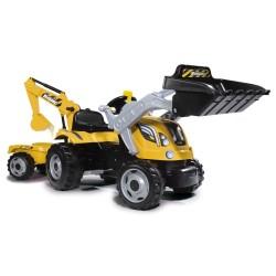Smoby traktor med frontskovl og gravekran - Builder Max
